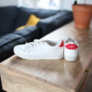 Betsey Johnson bettie red lips white sneakers 6.5
